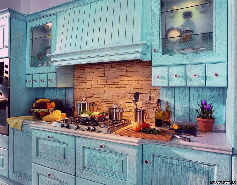 Дизайн кухни в голубом цвете фото