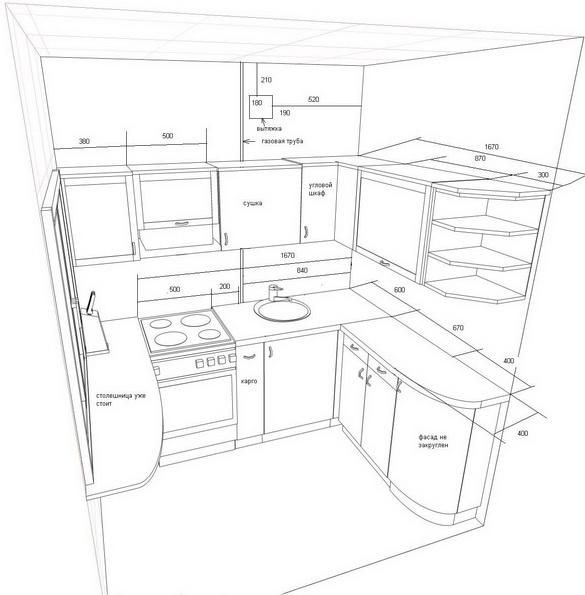 При планировании пространства кухни 6 кв.м. нужно правильно подойти к вопросу зонирования.
