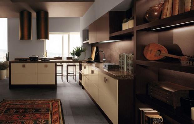 А кухня темно-коричневого